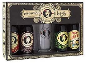 La Virgen cerveza artesana - Pack regalo de 4 x 330 ml + Vaso